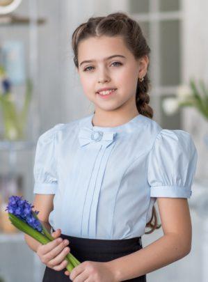 """Блузка школьная """"Лада"""" голубая"""