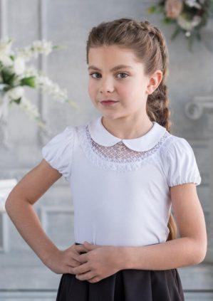 "Блузка школьная ""Барбара"" трикотажная белая"