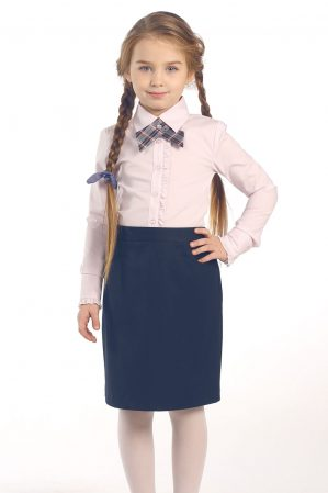 "Блузка школьная ""Лера"" розовая, длинный рукав"