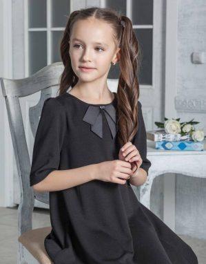 """Платье школьное """"Августина"""" трикотажное чёрное"""