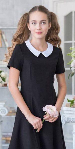 Школьное подростковое чёрное платье с воротником