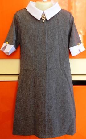 Платье школьное серое