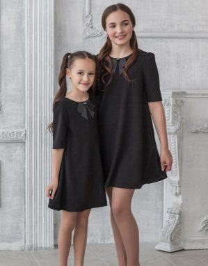 Платье школьное трикотажное чёрное