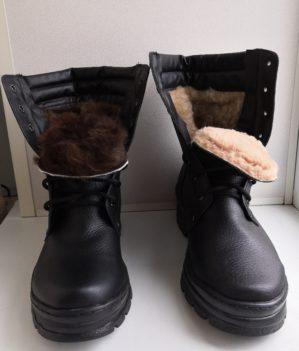Берцы кожаные, натуральный мех
