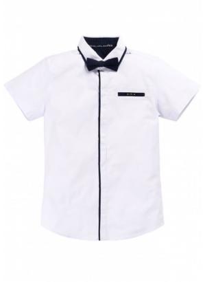 Рубашка школьная приталенная с коротким рукавом