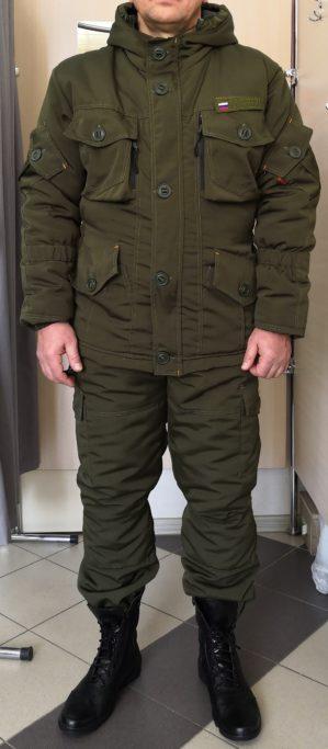 "Костюм ""Горка-Кордон"", Премиум класс, куртка+брюки, тёмно-зелёная олива, армированная ткань, термофольга, зима"