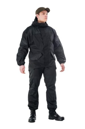"""Костюм """"Горка-Нэро"""" чёрный, демисезон, куртка+брюки, армированная ткань, утеплитель: термофлис"""