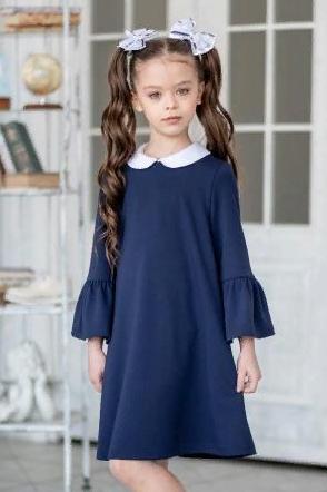 """Платье школьное """"Дора"""" трикотажное тёмно-синее"""