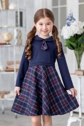 Платье школьное тёмно-синее в клетку