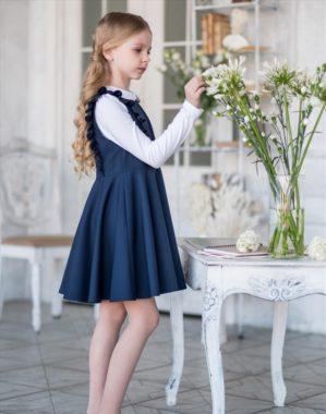 "Сарафан школьный ""Роза"" тёмно-синий"