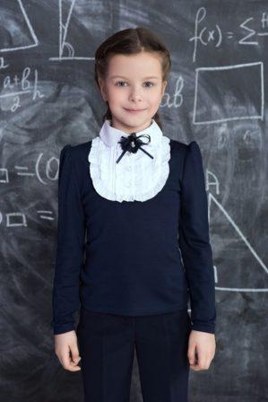 Блузка школьная синяяя с длинным рукавом