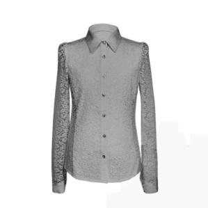 Блузка школьная серая с длинным рукавом