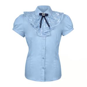 Блузка школьная голубая с коротким рукавом