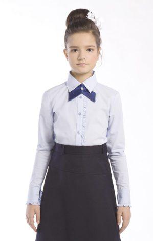"""Блузка школьная """"Лера"""" голубая, длинный рукав"""
