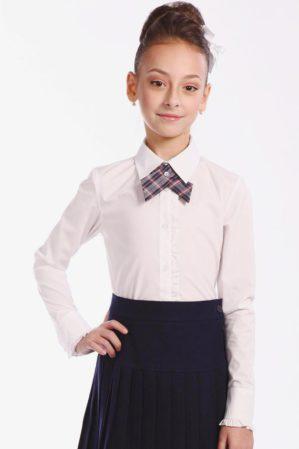 "Блузка школьная ""Лера"" белая, длинный рукав"