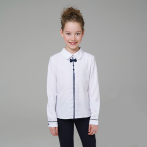 Блузка школьная белая с длинным рукавом