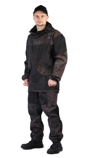 """Костюм """"Горка"""" куртка+брюки, черный+кмф питон черный"""