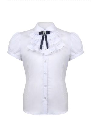 Блузка школьная белая с коротким рукавом