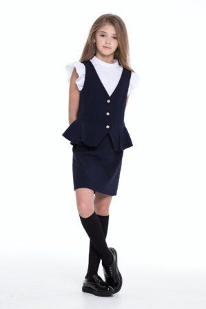 Жилет школьный тёмно-синий для девочки