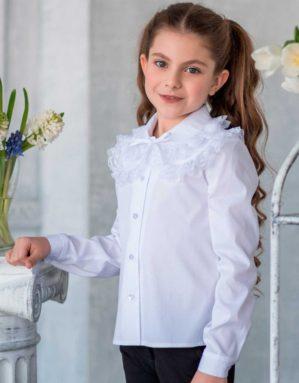 """Блузка школьная """"Катя"""" белая с длинным рукавом"""