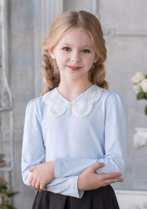"""Блузка школьная """"Микки"""" трикотажная голубая"""