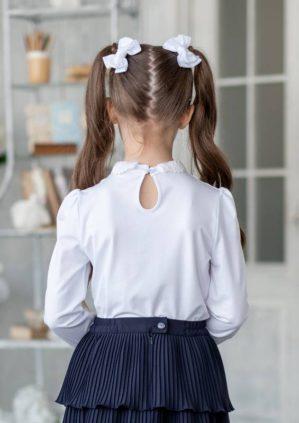 "Блузка школьная ""Стиви"" трикотажная белая"