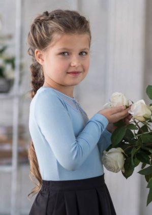 "Блузка школьная ""Габби"" трикотажная голубая"