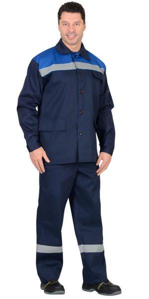Костюм рабочий 100% хб, куртка+брюки синий с васильковым с СОП
