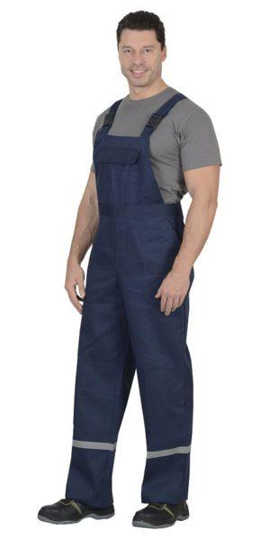 Костюм рабочий 100% х/б, куртка+п/к, тёмно-синий с васильковым и СОП