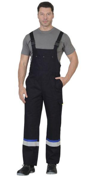 """Костюм """"Бостон"""" куртка+п/к, 100% х/б, синий с васильковым и черным"""