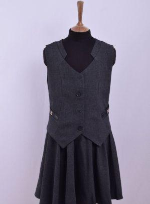 Костюм-двойка школьный серый (жилет+юбка)