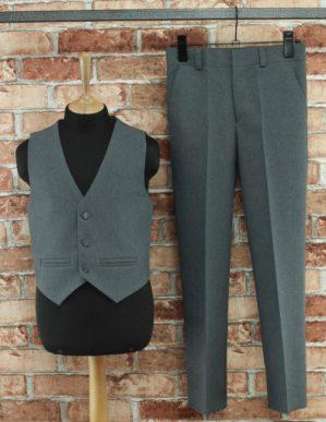 Костюм-двойка школьный серый (жилет+брюки)