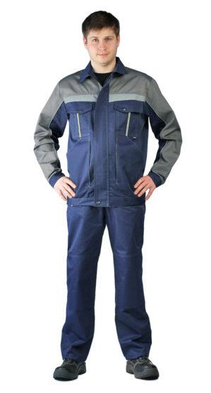 Костюм рабочий куртка+брюки тёмно-синий с серым