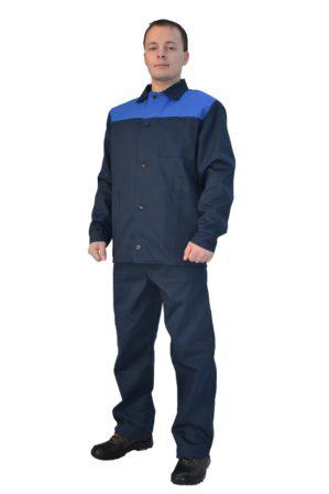 Костюм рабочий 100% х/б, куртка+брюки, синий с васильковым