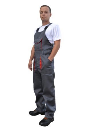 Полукомбинезон рабочий, серый с красным