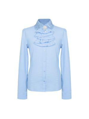 Блузка школьная голубая с длинным рукавом