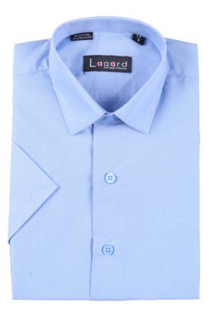 Рубашка школьная голубая с коротким рукавом, 80% х/б, 20% п/э