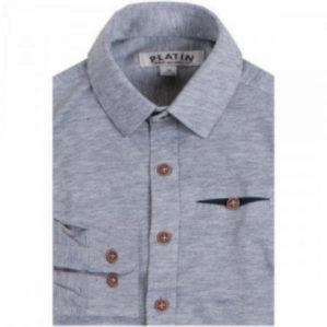 Рубашка школьная серая с длинным рукавом, 90% х/б, 10% эластан