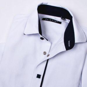 Рубашка школьная белая на кнопках, с длинным рукавом, 80% х/б, 20% п/э