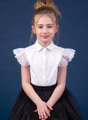 Блузка школьная белая, длинный рукав