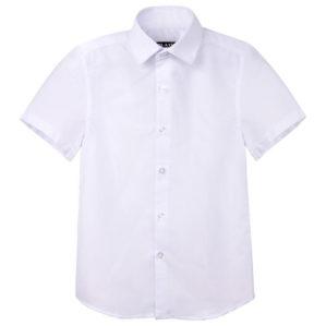 Рубашка школьная белая с коротким рукавом, 80% х/б, 20% п/э