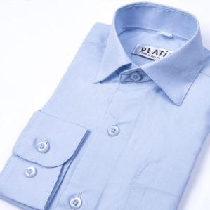 Рубашка школьная голубая с длинным рукавом, 80% х/б, 20% п/э