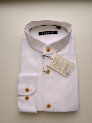 Рубашка школьная приталенная  белая с длинным рукавом, воротник-стойка, 80% х/б, 20% п/э