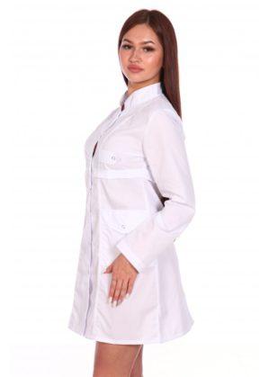 Халат медицинский женский белый на кнопках