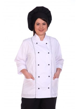 Костюм повара белый с чёрным, китель+брюки
