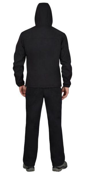 """Куртка """"Альфа"""", тк. софтшелл, черная с капюшоном"""
