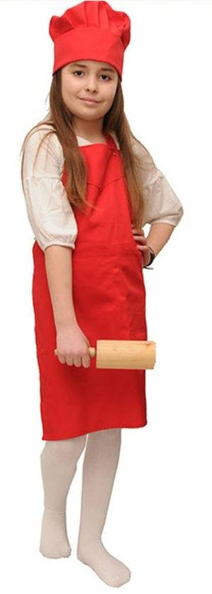 Фартук повара детский красный с регулировкой
