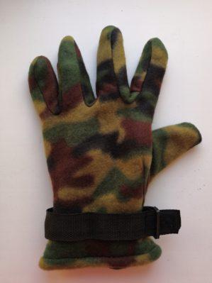 Перчатки утеплённые КМФ зелёные флисовые