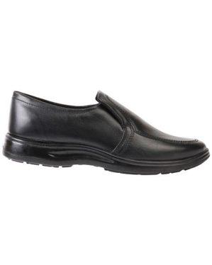 Туфли мужские на резинке черные иск. кожа