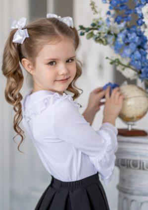 """Блузка """"Агата"""" школьная трикотажная белая"""